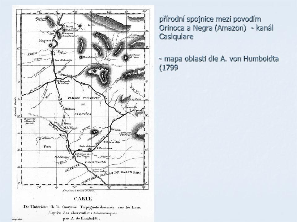 přírodní spojnice mezi povodím Orinoca a Negra (Amazon) - kanál Casiquiare - mapa oblasti dle A.