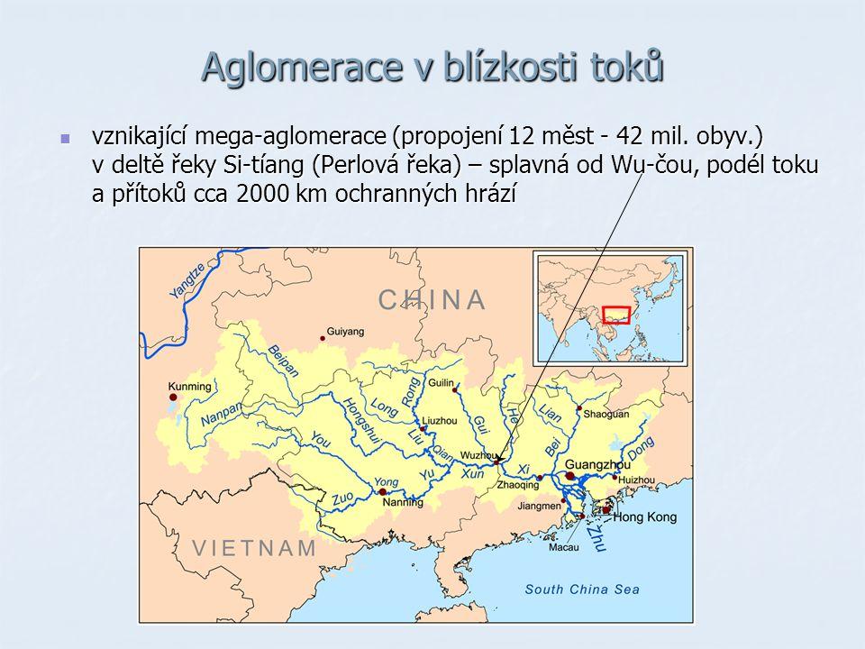 Aglomerace v blízkosti toků vznikající mega-aglomerace (propojení 12 měst - 42 mil.