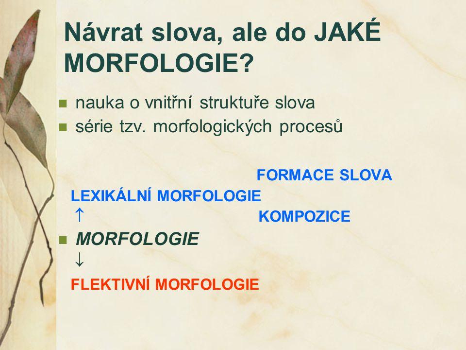 Návrat slova, ale do JAKÉ MORFOLOGIE? nauka o vnitřní struktuře slova série tzv. morfologických procesů FORMACE SLOVA LEXIKÁLNÍ MORFOLOGIE  KOMPOZICE