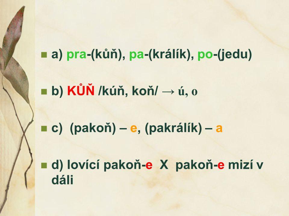 a) pra-(kůň), pa-(králík), po-(jedu) b) KŮŇ /kúň, koň/ → ú, o c) (pakoň) – e, (pakrálík) – a d) lovící pakoň-e X pakoň-e mizí v dáli
