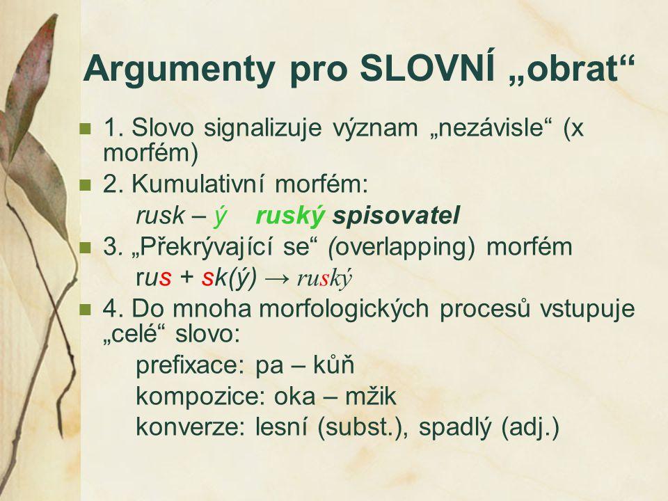"""Argumenty pro SLOVNÍ """"obrat"""" 1. Slovo signalizuje význam """"nezávisle"""" (x morfém) 2. Kumulativní morfém: rusk – ý ruský spisovatel 3. """"Překrývající se"""""""