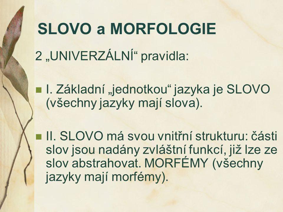 """SLOVO a MORFOLOGIE 2 """"UNIVERZÁLNÍ"""" pravidla: I. Základní """"jednotkou"""" jazyka je SLOVO (všechny jazyky mají slova). II. SLOVO má svou vnitřní strukturu:"""