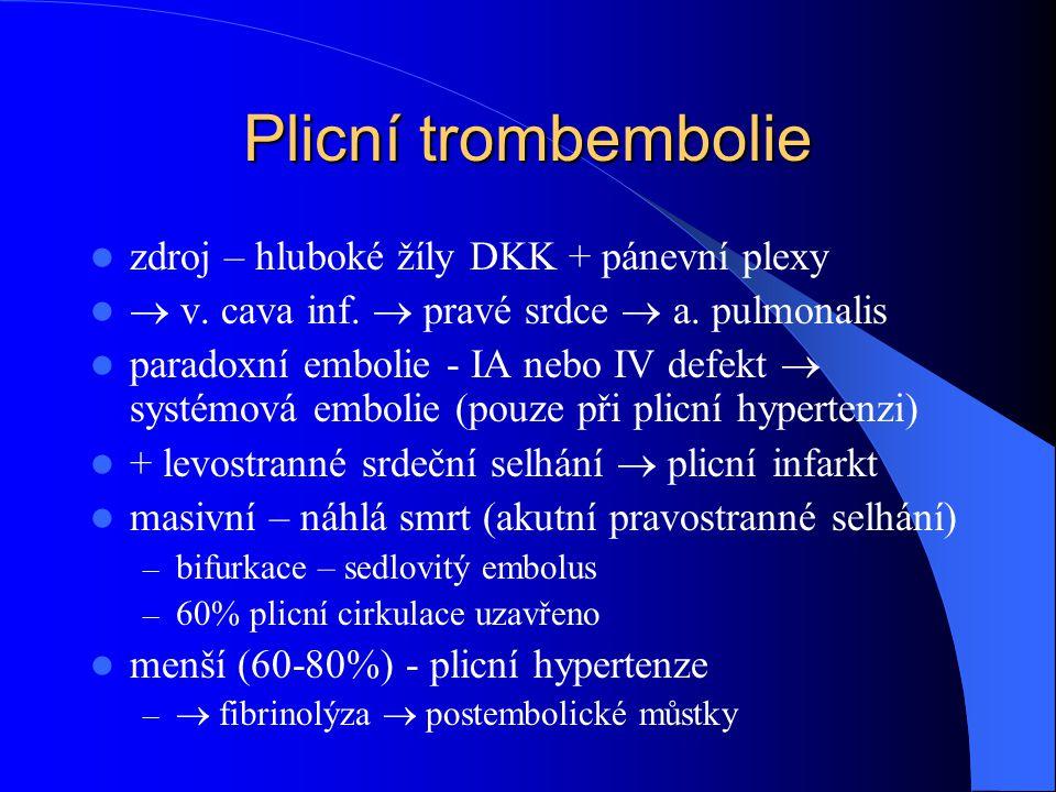 Plicní trombembolie zdroj – hluboké žíly DKK + pánevní plexy  v. cava inf.  pravé srdce  a. pulmonalis paradoxní embolie - IA nebo IV defekt  syst