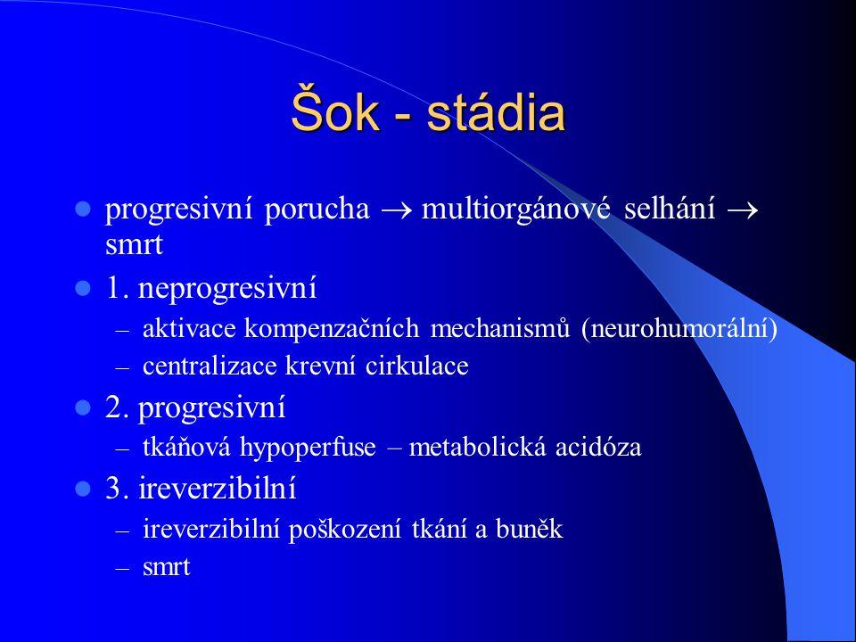 Šok - stádia progresivní porucha  multiorgánové selhání  smrt 1. neprogresivní – aktivace kompenzačních mechanismů (neurohumorální) – centralizace k