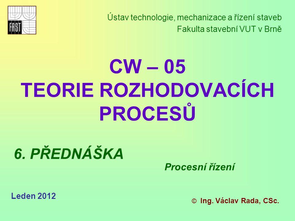 Leden 2012 Řízení a rozhodování - procesní řízení maticový charakter.