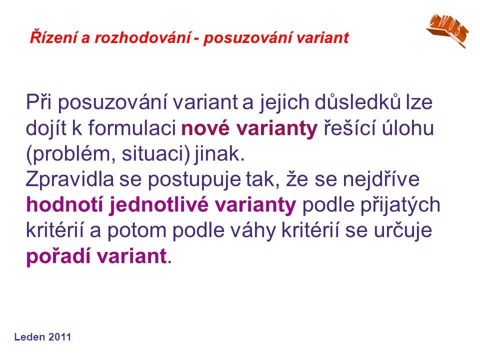 Leden 2011 Při posuzování variant a jejich důsledků lze dojít k formulaci nové varianty řešící úlohu (problém, situaci) jinak. Zpravidla se postupuje