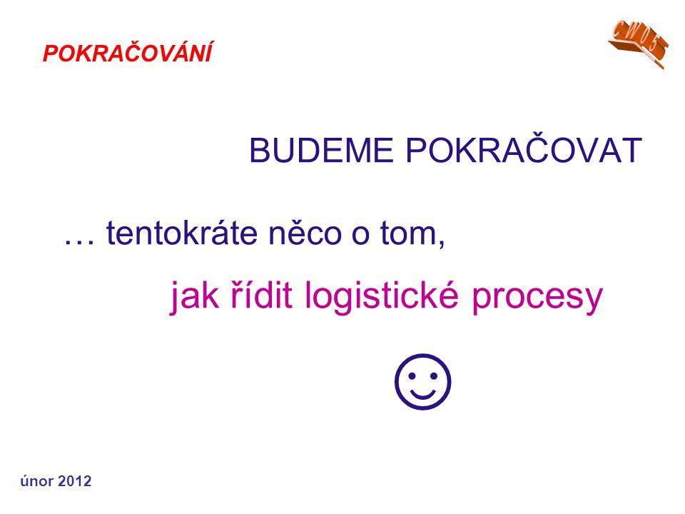 únor 2012 BUDEME POKRAČOVAT … tentokráte něco o tom, jak řídit logistické procesy ☺ POKRAČOVÁNÍ