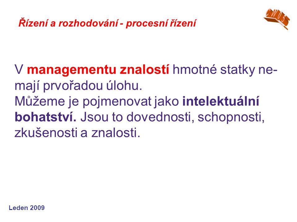 Leden 2009 Řízení a rozhodování - procesní řízení V managementu znalostí hmotné statky ne- mají prvořadou úlohu. Můžeme je pojmenovat jako intelektuál