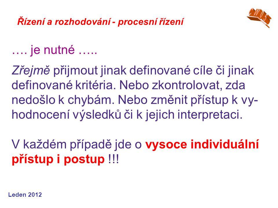 Leden 2012 Řízení a rozhodování - procesní řízení ….