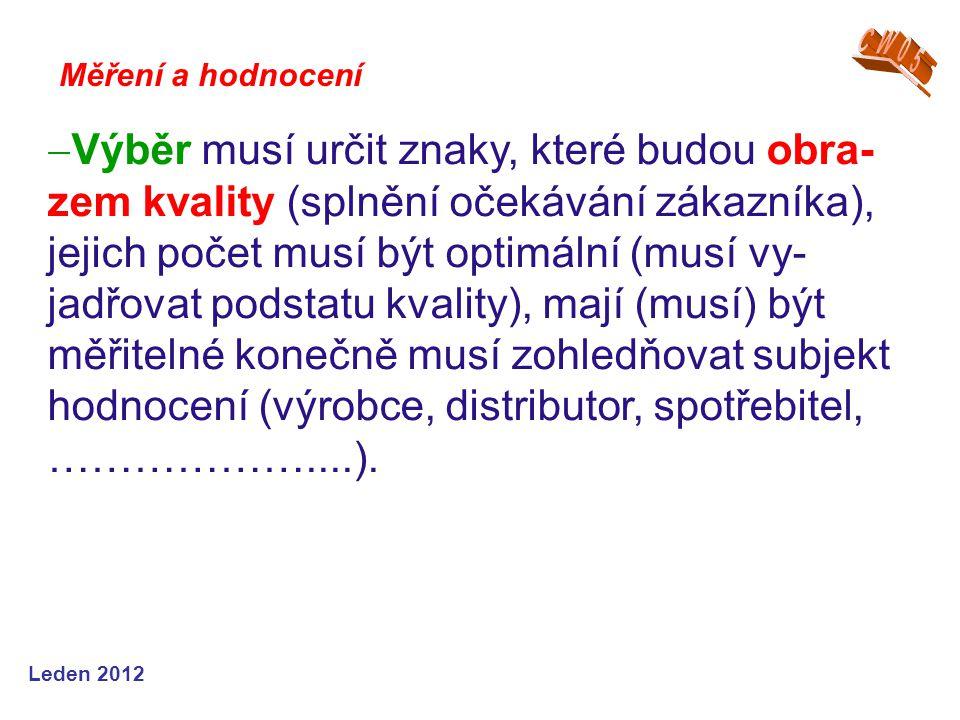 Leden 2012  Výběr musí určit znaky, které budou obra- zem kvality (splnění očekávání zákazníka), jejich počet musí být optimální (musí vy- jadřovat podstatu kvality), mají (musí) být měřitelné konečně musí zohledňovat subjekt hodnocení (výrobce, distributor, spotřebitel, ………………....).