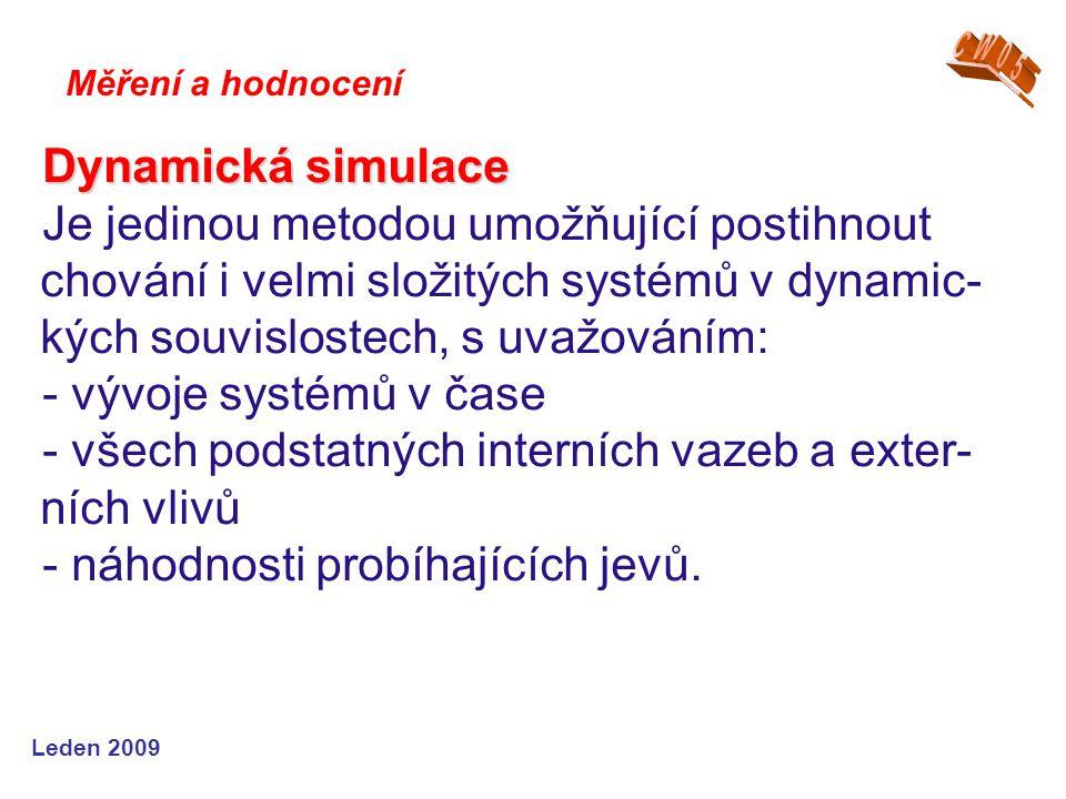 Leden 2009 Dynamická simulace Je jedinou metodou umožňující postihnout chování i velmi složitých systémů v dynamic- kých souvislostech, s uvažováním: - vývoje systémů v čase - všech podstatných interních vazeb a exter- ních vlivů - náhodnosti probíhajících jevů.