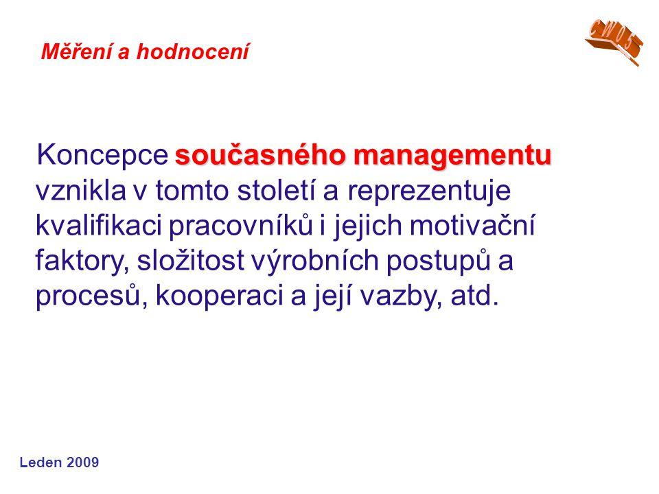 Leden 2009 současného managementu Koncepce současného managementu vznikla v tomto století a reprezentuje kvalifikaci pracovníků i jejich motivační fak