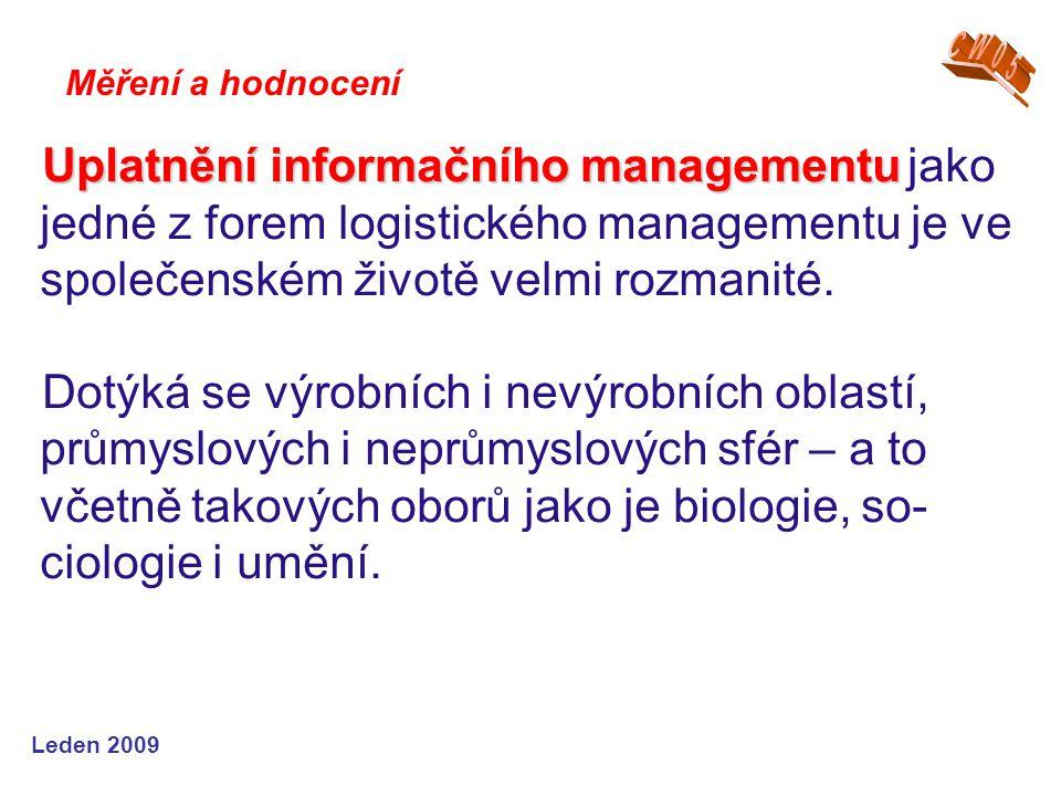Leden 2009 Uplatnění informačního managementu Uplatnění informačního managementu jako jedné z forem logistického managementu je ve společenském životě