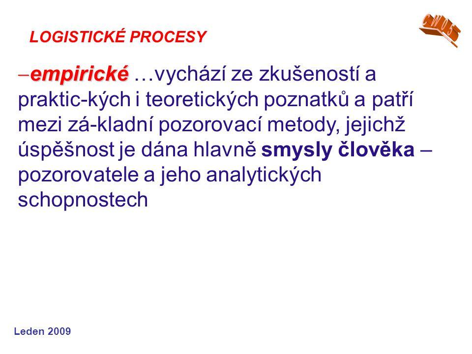 Leden 2009  empirické  empirické …vychází ze zkušeností a praktic-kých i teoretických poznatků a patří mezi zá-kladní pozorovací metody, jejichž úsp
