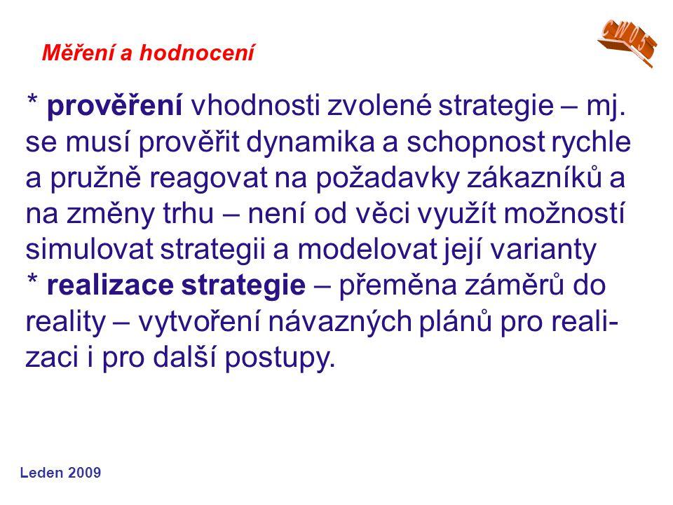 Leden 2009 * prověření vhodnosti zvolené strategie – mj. se musí prověřit dynamika a schopnost rychle a pružně reagovat na požadavky zákazníků a na zm