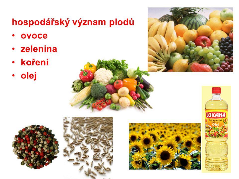 hospodářský význam plodů ovoce zelenina koření olej