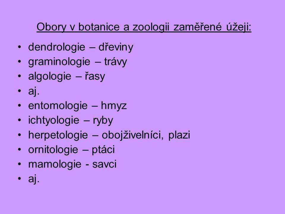 Obory v botanice a zoologii zaměřené úžeji: dendrologie – dřeviny graminologie – trávy algologie – řasy aj. entomologie – hmyz ichtyologie – ryby herp