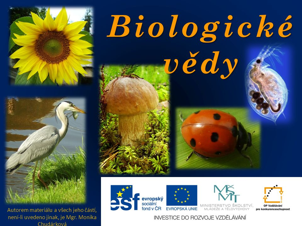 Biologické vědy Autorem materiálu a všech jeho částí, není-li uvedeno jinak, je Mgr.