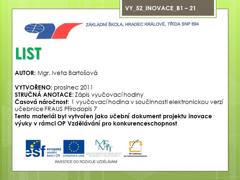 VY_52_INOVACE_B1 – 21 LIST AUTOR : Mgr.