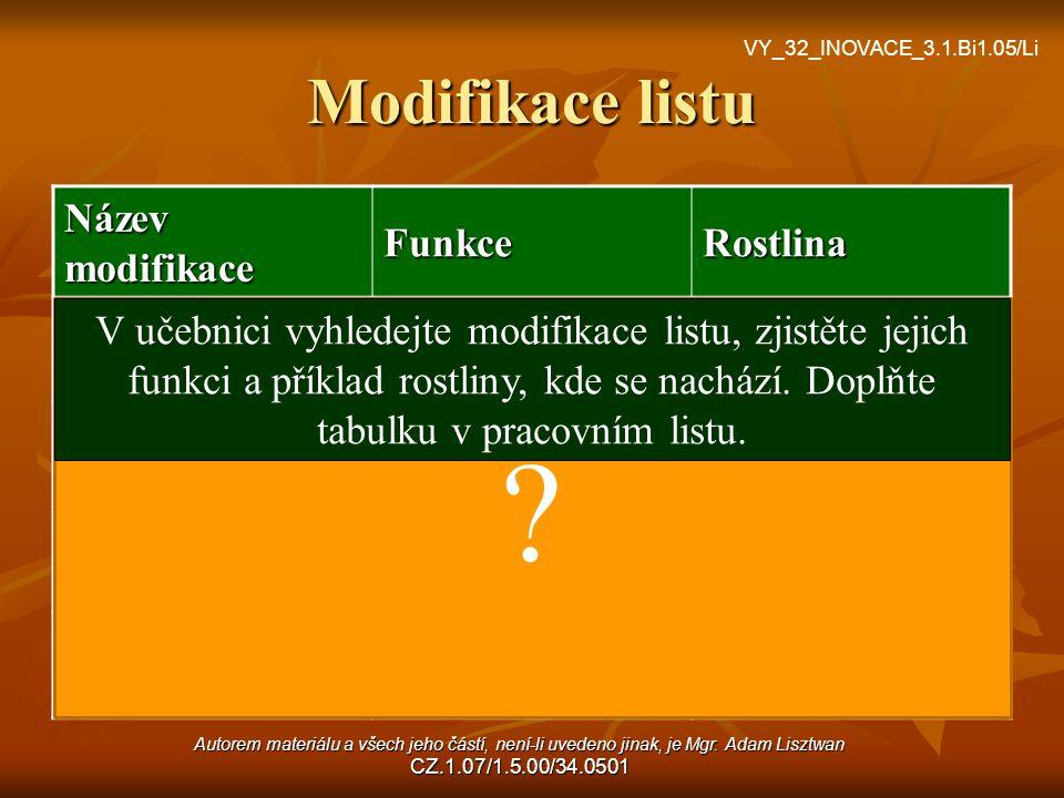 Modifikace listu Název modifikace FunkceRostlina cibulezásobnícibule trnyochranadřišťál úponkypřichycovacíhrách šupinyochranadřeviny ? V učebnici vyhl