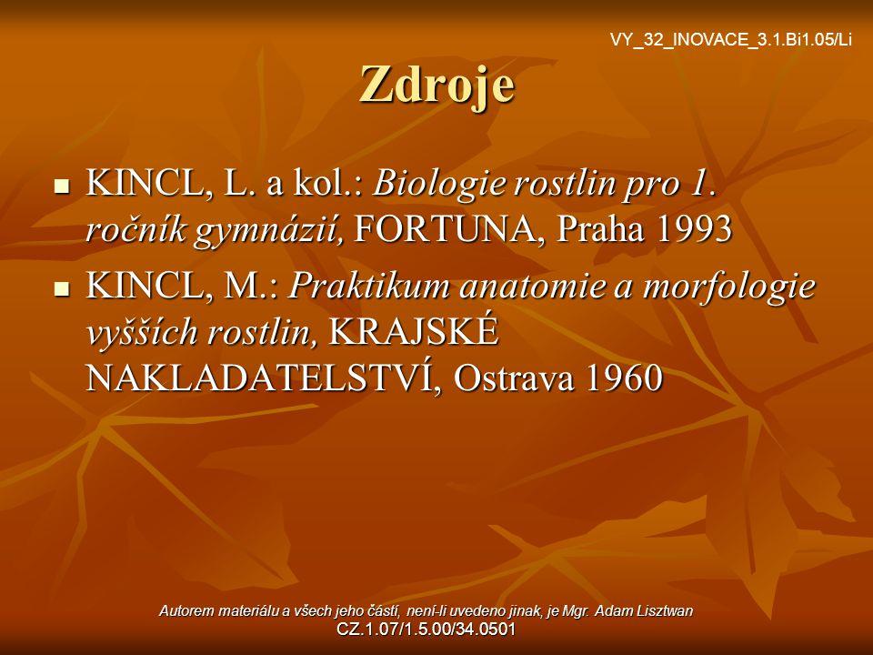 Zdroje KINCL, L. a kol.: Biologie rostlin pro 1. ročník gymnázií, FORTUNA, Praha 1993 KINCL, L. a kol.: Biologie rostlin pro 1. ročník gymnázií, FORTU