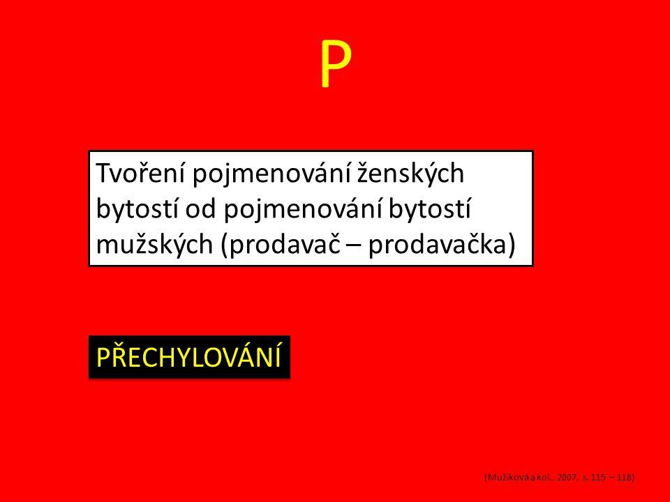 P Tvoření pojmenování ženských bytostí od pojmenování bytostí mužských (prodavač – prodavačka) PŘECHYLOVÁNÍ (Mužíková a kol., 2007, s.
