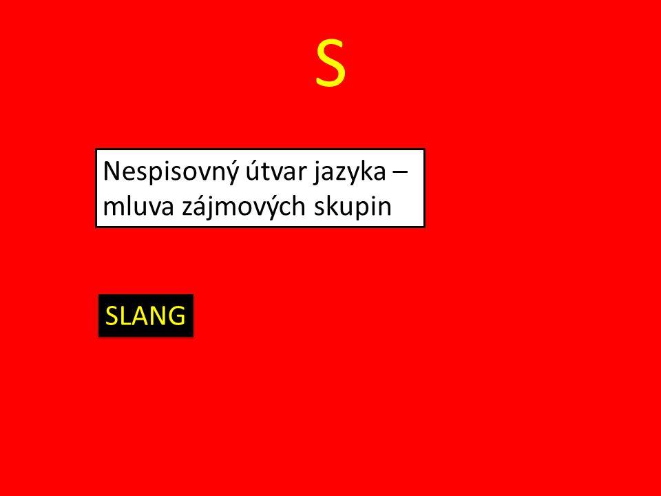 S Nespisovný útvar jazyka – mluva zájmových skupin SLANG