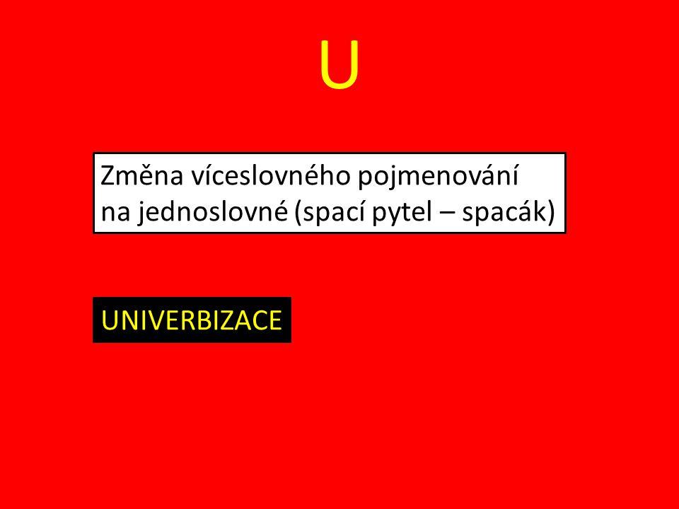 U Změna víceslovného pojmenování na jednoslovné (spací pytel – spacák) UNIVERBIZACE