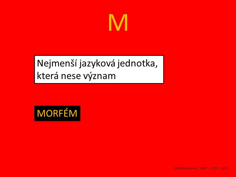 M Disciplína jazykovědy, která se zabývá tvary slov a slovními druhy MORFOLOGIE