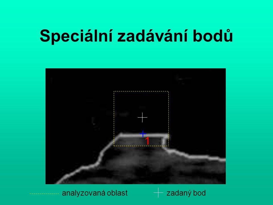 Speciální zadávání bodů analyzovaná oblastzadaný bod