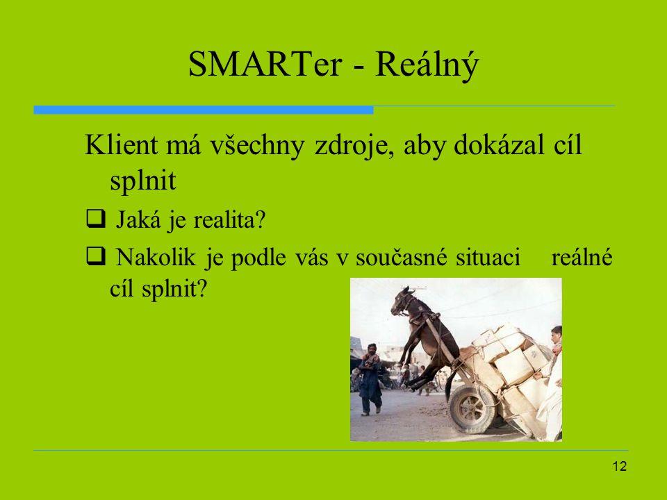 12 SMARTer - Reálný Klient má všechny zdroje, aby dokázal cíl splnit  Jaká je realita.
