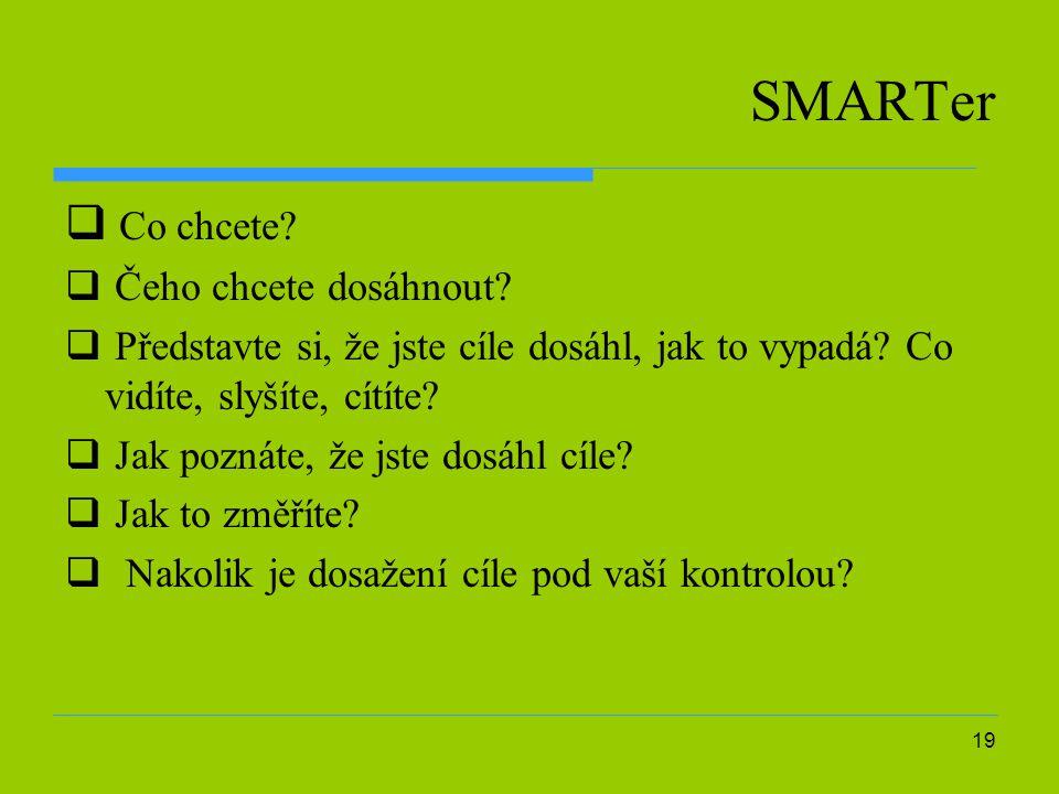 19 SMARTer  Co chcete. Čeho chcete dosáhnout.