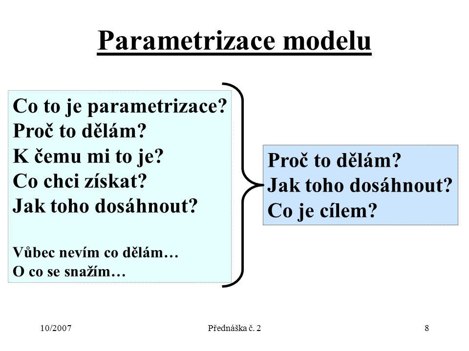 10/2007Přednáška č. 28 Parametrizace modelu Co to je parametrizace? Proč to dělám? K čemu mi to je? Co chci získat? Jak toho dosáhnout? Vůbec nevím co
