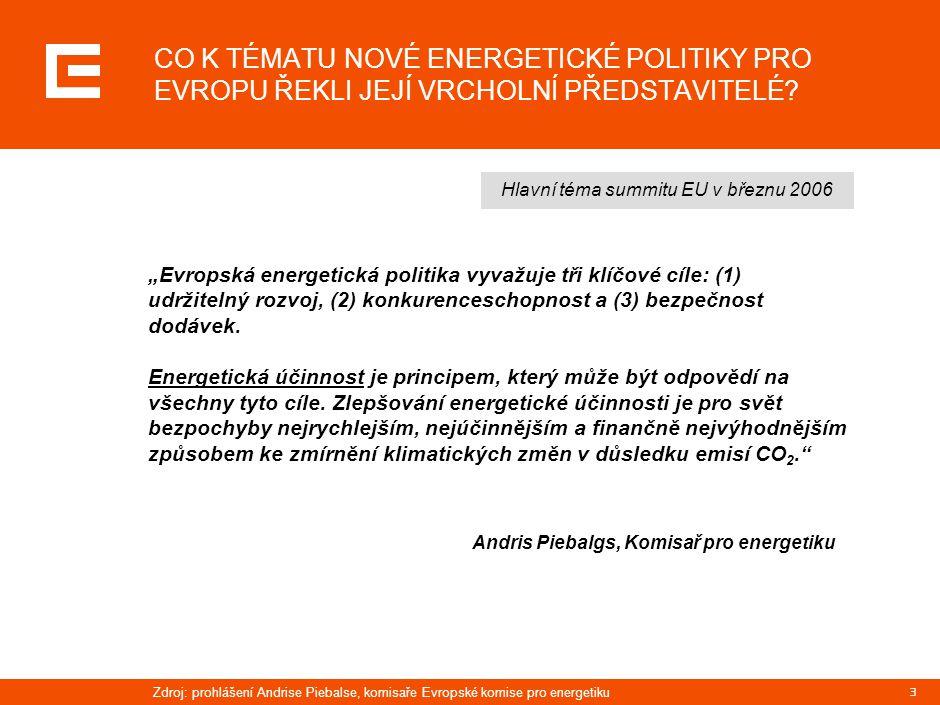 4 PLATNÁ STÁTNÍ ENERGETICKÁ KONCEPCE ČR V SOBĚ JIŽ PRAKTICKY ZAHRNUJE VŠECHNY ATRIBUTY NAVRŽENÉ V NOVÉ ENERGETICKÉ POLITICE PRO EVROPU  Zvýšit energetickou účinnost svých zdrojů  Zajistit dostatečnou soběstačnost v primárních zdrojích pro výrobu elektřiny  Přispět ke zvyšování podílu výroby elektřiny z obnovitelných zdrojů  Chovat se podle tržních mechanismů na podporu ekologické výroby elektřiny  Zachovat existující diverzifikovaný mix zdrojové základny výroby elektřiny Protože cílem ČEZ je především naplnit státní energetickou koncepci, tj.