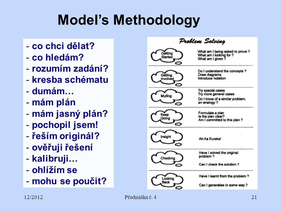 12/2012Přednáška č. 421 Model's Methodology - co chci dělat? - co hledám? - rozumím zadání? - kresba schématu - dumám… - mám plán - mám jasný plán? -