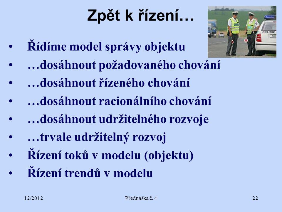 12/2012Přednáška č. 422 Zpět k řízení… Řídíme model správy objektu …dosáhnout požadovaného chování …dosáhnout řízeného chování …dosáhnout racionálního