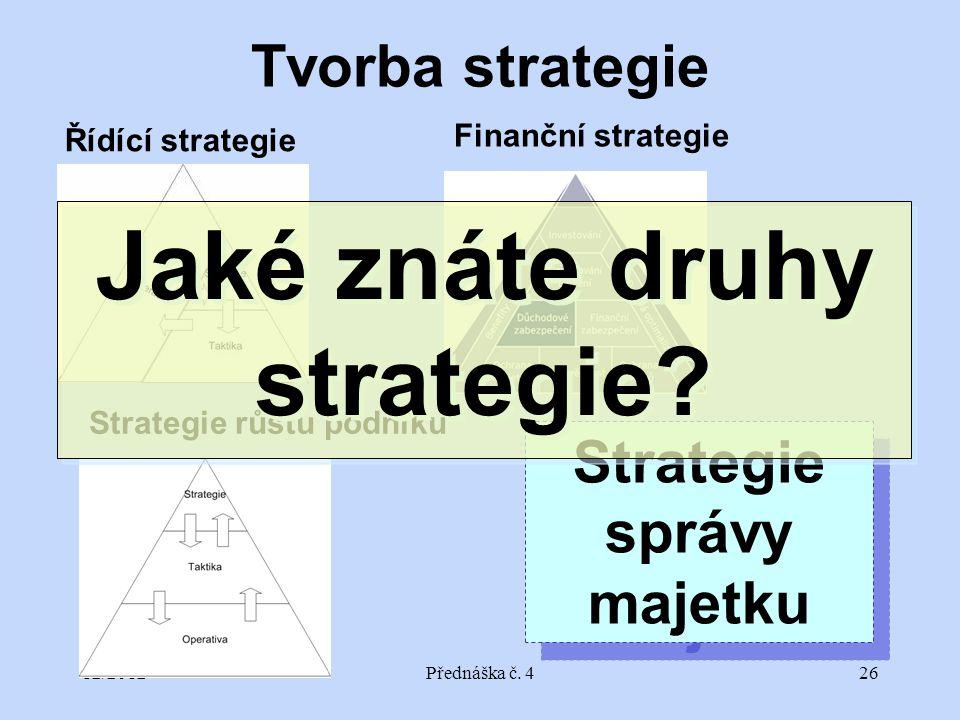 12/2012Přednáška č. 426 Tvorba strategie Řídící strategie Finanční strategie Strategie růstu podniku Strategie správy majetku Strategie správy majetku