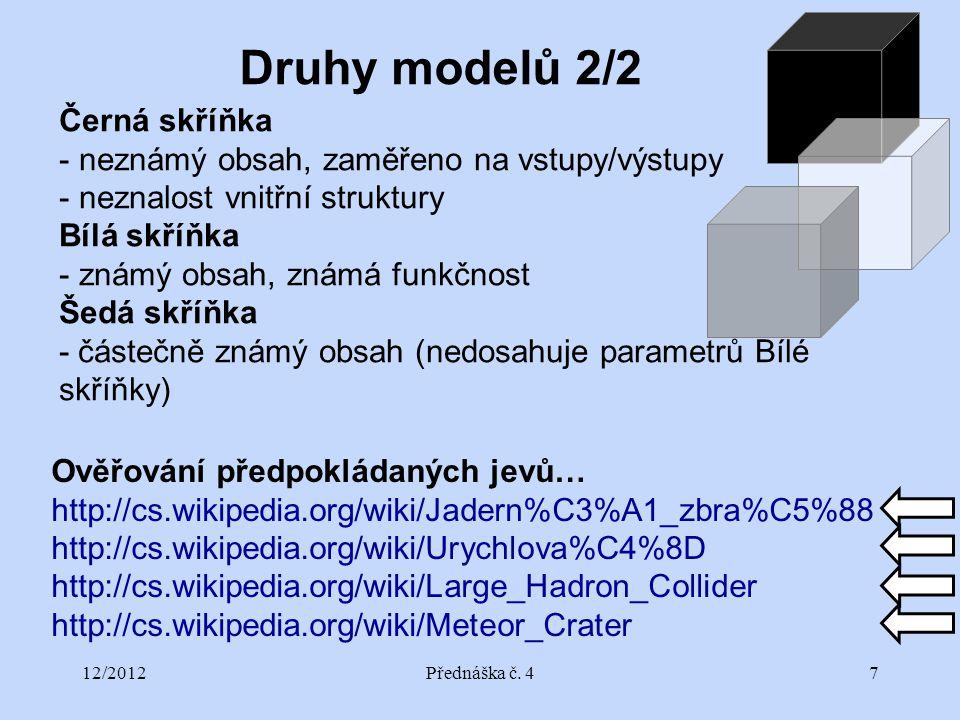 12/2012Přednáška č. 47 Černá skříňka - neznámý obsah, zaměřeno na vstupy/výstupy - neznalost vnitřní struktury Bílá skříňka - známý obsah, známá funkč