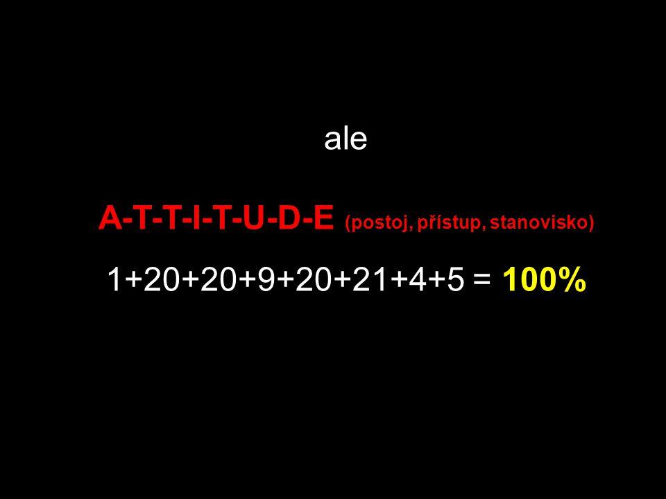 potom H-A-R-D-W-O-R- K (tvrdá práce, makačka) 8+1+18+4+23+15+18+11 = 98% a K-N-O-W-L-E-D-G-E (vědomosti, vzdělanost) 11+14+15+23+12+5+4+7+5 = 96%