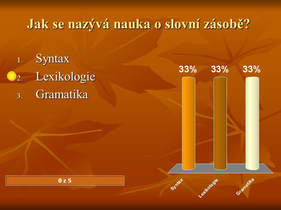 Jak se nazývá nauka o slovní zásobě? 1. Syntax 2. Lexikologie 3. Gramatika 0 z 5