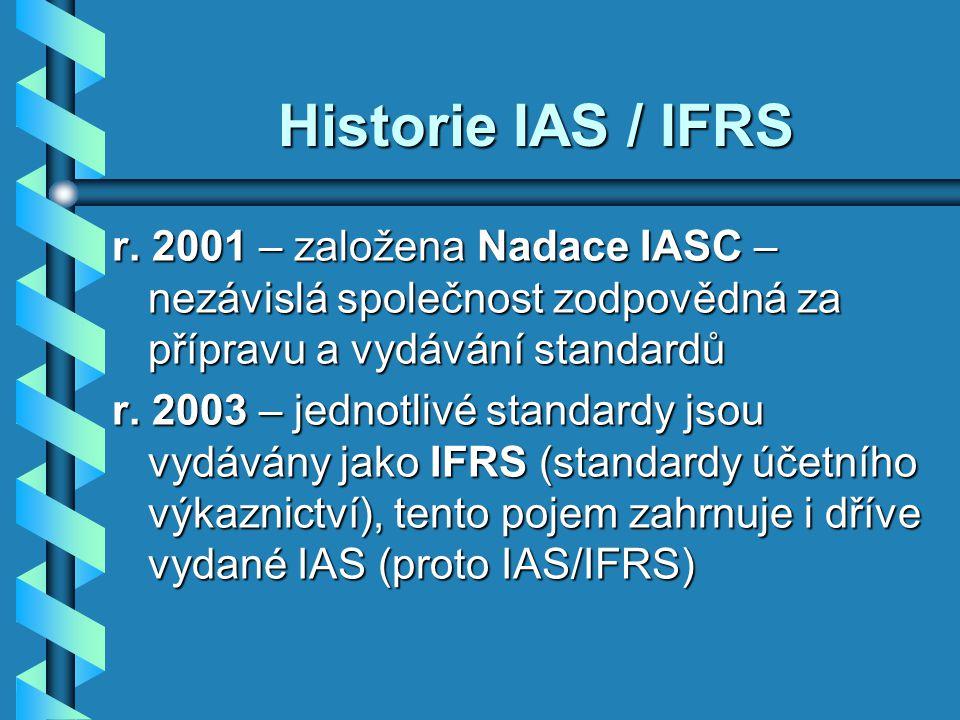 Tvorba nového IAS - Návrhy předkládají různé subjekty, - Rada (IASB) ustaví Řídící výbor, který připraví návrh a předběžné znění IAS, - Návrh je předložen k připomínkovému řízení (zveřejněn na Internetu 1-3 měs., kdokoli může podat připomínku) - Řídící výbor přezkoumá připomínky a připraví konečné znění - Rada posoudí znění standardu a schválí, pak je vydán.