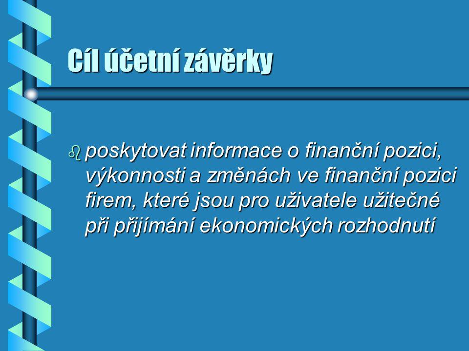 Uživatelé účetní závěrky b investoři a jejich poradci b zaměstnanci a jejich představitelé b poskytovatelé výpůjčního kapitálu b dodavatelé a jiní obchodní věřitelé b zákazníci b vlády a jejich orgány b veřejnost