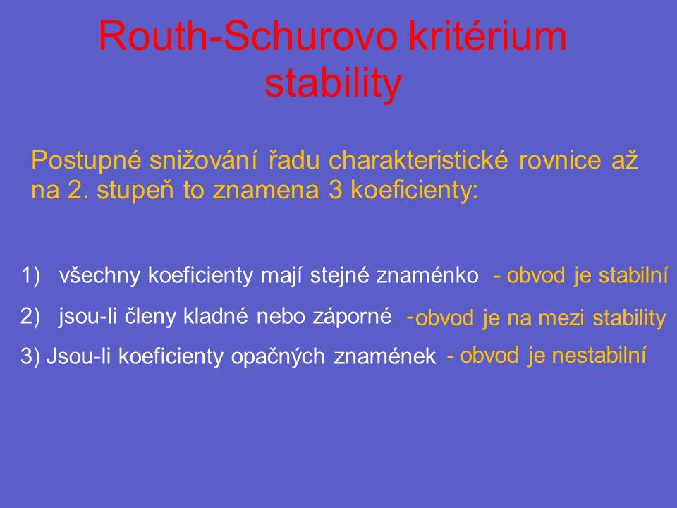 Routh-Schurovo kritérium stability Postupné snižování řadu charakteristické rovnice až na 2.