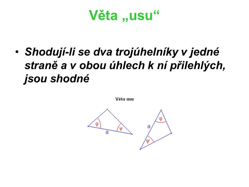 """Věta """"ssu Shodují-li se dva trojúhelníky ve dvou stranách a úhlu proti delší z nich, jsou shodné (Je důležitý to, že úhel je naproti delší z nich."""
