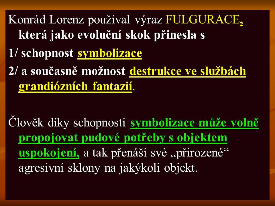 Konrád Lorenz používal výraz FULGURACE, která jako evoluční skok přinesla s 1/ schopnost symbolizace 2/ a současně možnost destrukce ve službách grand
