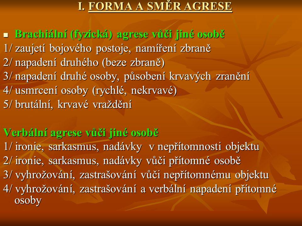 I. FORMA A SMĚR AGRESE Brachiální (fyzická) agrese vůči jiné osobě Brachiální (fyzická) agrese vůči jiné osobě 1/ zaujetí bojového postoje, namíření z