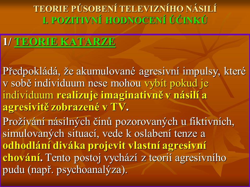 TEORIE PÚSOBENÍ TELEVIZNÍHO NÁSILÍ I. POZITIVNÍ HODNOCENÍ ÚĆINKÚ 1/ TEORIE KATARZE Předpokládá, že akumulované agresivní impulsy, které v sobě individ