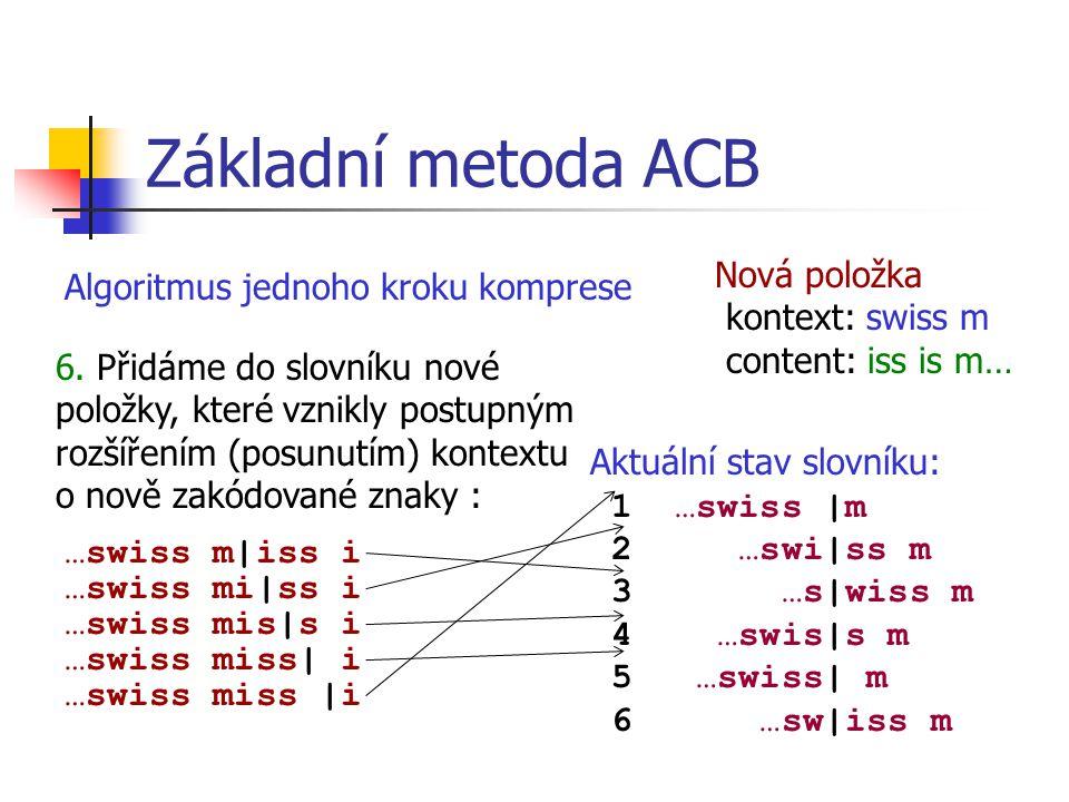 Základní metoda ACB Algoritmus jednoho kroku komprese Aktuální stav slovníku: 1 …swiss |m 2 …swi|ss m 3 …s|wiss m 4 …swis|s m 5 …swiss| m 6 …sw|iss m Nová položka kontext: swiss m content: iss is m… 6.