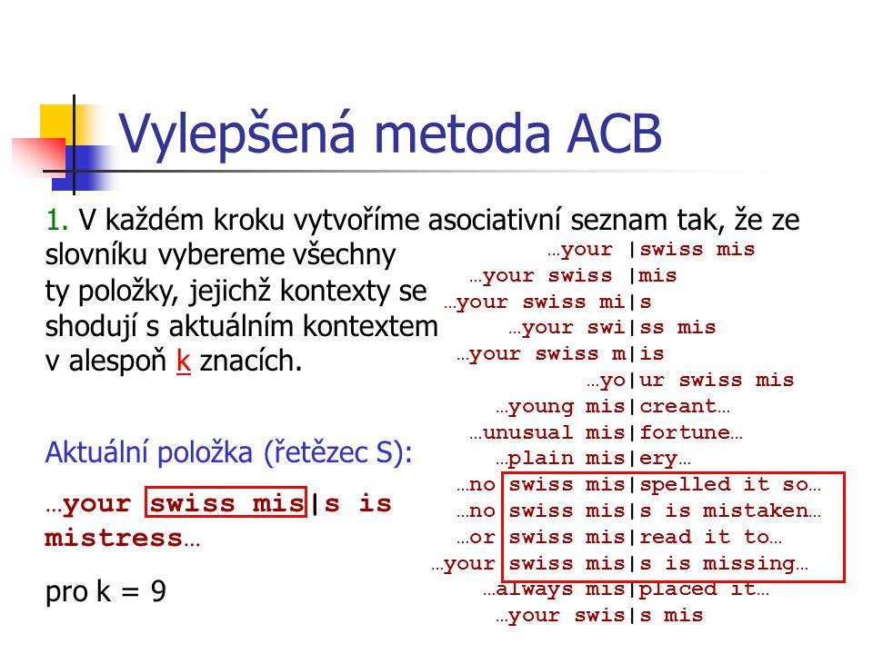 Vylepšená metoda ACB …your |swiss mis …your swiss |mis …your swiss mi|s …your swi|ss mis …your swiss m|is …yo|ur swiss mis …young mis|creant… …unusual