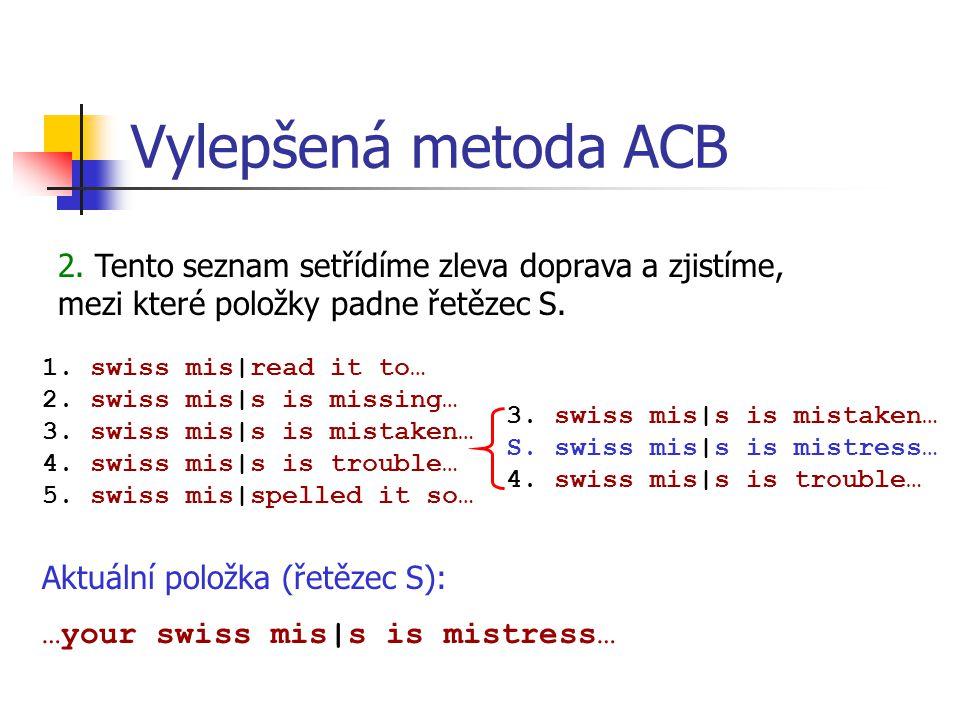 Vylepšená metoda ACB Aktuální položka (řetězec S): …your swiss mis|s is mistress… 2.
